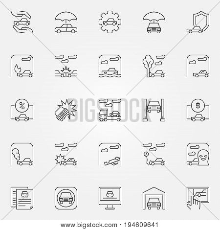 Car insurance icons set - vector auto insurance outline concept symbols. Different car accidents signs in thin line style