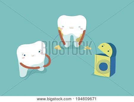 Use dental floss white healthy teeth ,teeth and tooth concept of dental