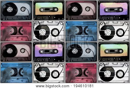 Musical devices of 60s, 70s, 80s, 90s.  Watercolor cassettes seamless pattern