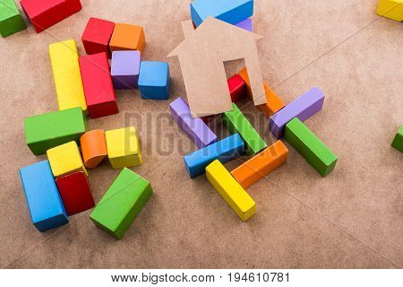 House Shape Formed Out Of Building Blocks