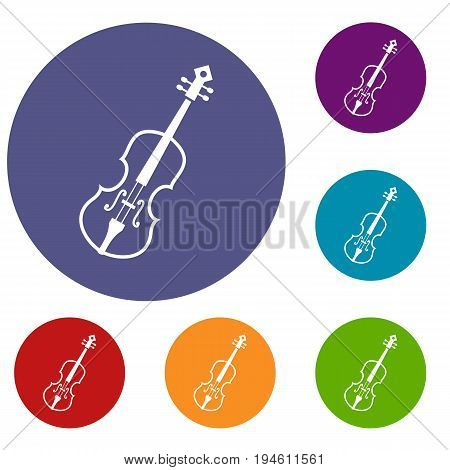 Cello icons set in flat circle reb, blue and green color for web