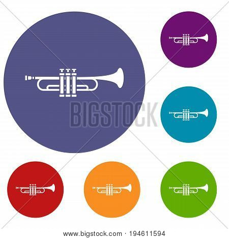 Brass trumpet icons set in flat circle reb, blue and green color for web