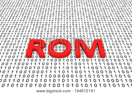 ROM in the form of binary code, 3D illustration