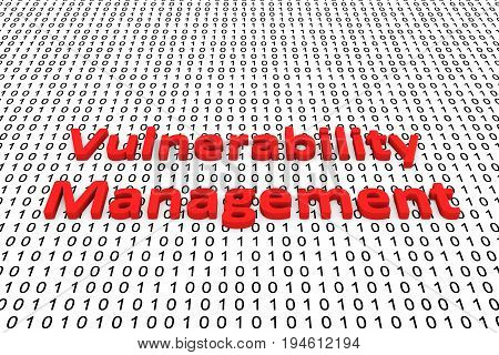Vulnerability management in the form of binary code, 3D illustration