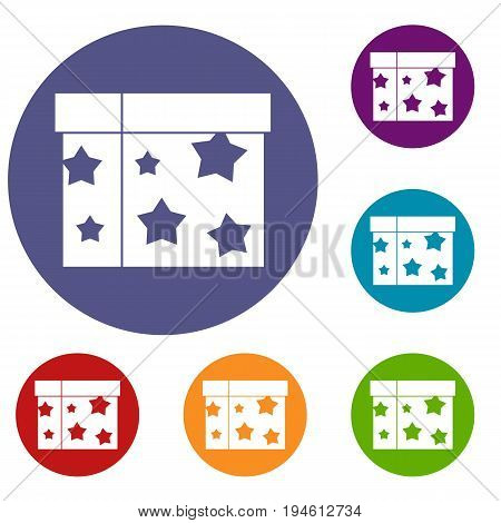 Box magician icons set in flat circle reb, blue and green color for web