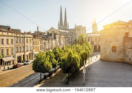Morning cityscape view with saint Pierre cathedral in Bordeaux city, France