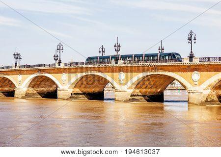 View on the famous saint Pierre bridge in Bordeaux city, France