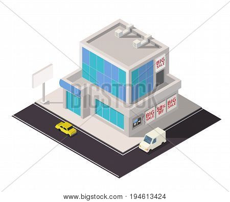 Vector isometric shopping mall building icon. Store 3d business center model.