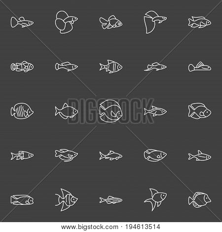 Aquarium fish line icons - vector minimal outline freshwater and saltwater fish signs on dark background