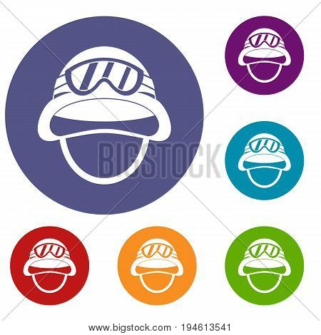 Military metal helmet icons set in flat circle reb, blue and green color for web