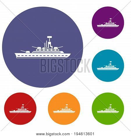 Military warship icons set in flat circle reb, blue and green color for web