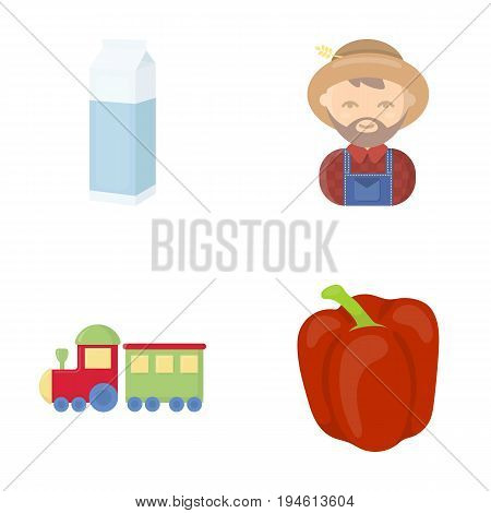 sweet, vegetables, business and other  icon in cartoon style.pepper, Bulgarian, red icons in set collection.