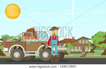 Cartoon hunter with gun. Redneck. Car. Nature landscape