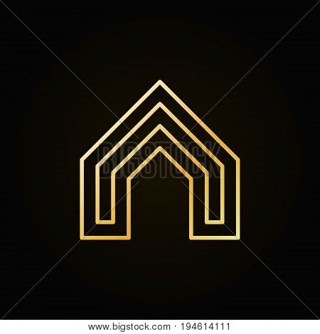 House concept colorful icon - vector golden real estate concept logo or design element in outline style on dark background
