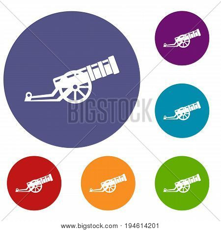 Cannon icons set in flat circle reb, blue and green color for web