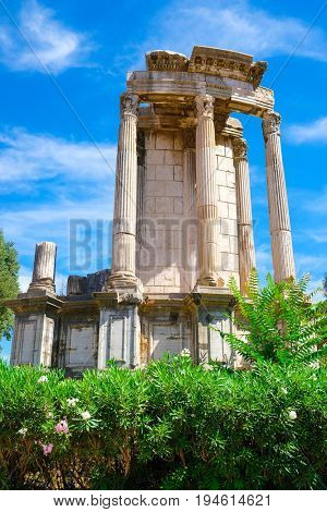 Rome, Italy - July, 2, 2017: fragment of an exposition of the open-air museum located on the place of excavation site of an ancient Roman Forum in a center of Rome, Italy