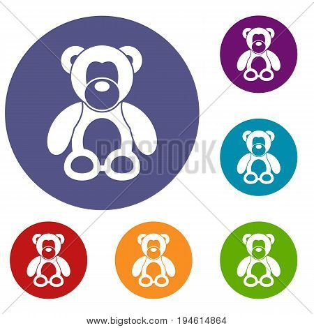 Teddy bear icons set in flat circle reb, blue and green color for web