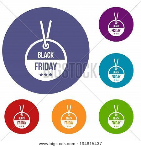 Black Friday sale tag icons set in flat circle reb, blue and green color for web