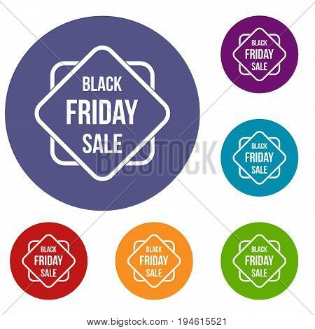 Black Friday sale sticker icons set in flat circle reb, blue and green color for web