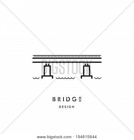 Vector logo of a simple girder bridge, the symbol connecting the two banks of the river. Icon of the bridge drawn in the linear style