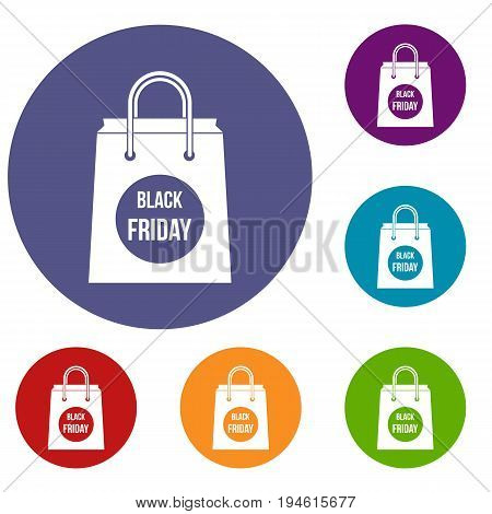 Black Friday shopping bag icons set in flat circle reb, blue and green color for web