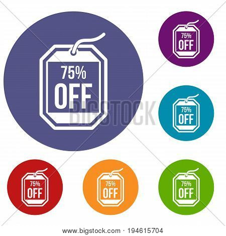 Sale tag 75 percent off icons set in flat circle reb, blue and green color for web
