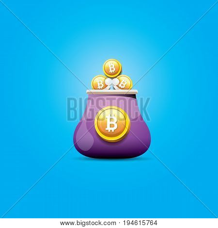 vector brown bitcoin wallet icon with coins isolated on blue background.