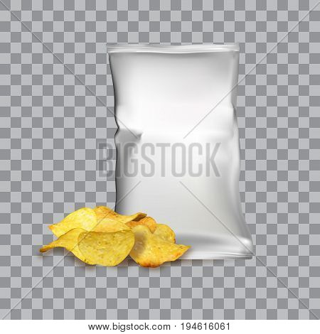 Vector design template for Chips advertising. Package with place for design and chips on transparent background
