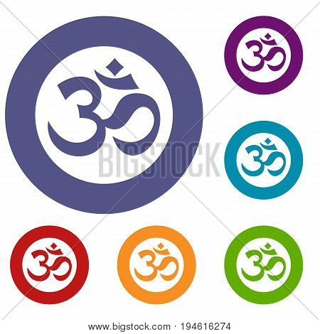 Symbol Aum icons set in flat circle reb, blue and green color for web