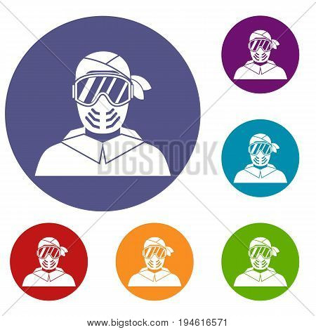 Paintball player wearing protective mask icons set in flat circle reb, blue and green color for web