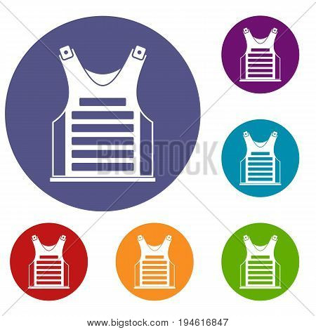 Paintball vest icons set in flat circle reb, blue and green color for web