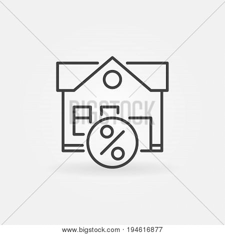 Leasing property icon - vector house with percent symbol in thin line style