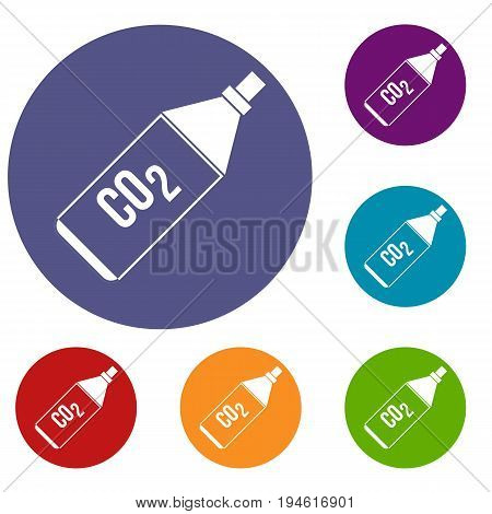CO2 bottle icons set in flat circle reb, blue and green color for web
