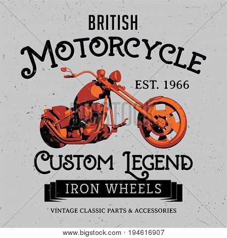 British Motorcycle Poster with bike and words custom legend iron wheels vector illustration