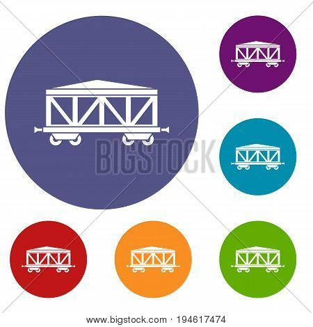 Train cargo wagon icons set in flat circle reb, blue and green color for web