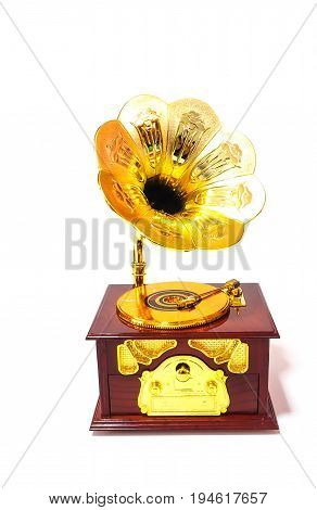 wind up trumpet gramophone on white background