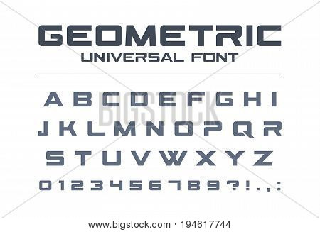Geometric universal font. Technology, sport, futuristic, future techno alphabet. Letters and numbers for military, industrial, electric car racing logo design. Modern minimalistic vector typeface