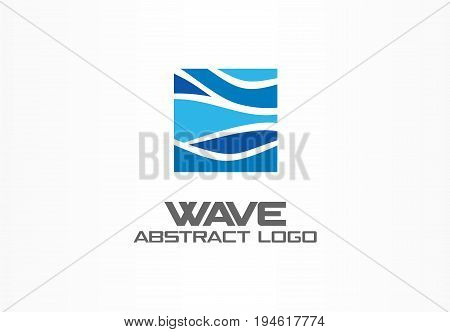 Abstract logo for business company. Corporate identity design element. Nature, ocean, eco, science, healthcare Logotype idea. Ecology, blue, sea, water wave in square concept. Colorful Vector icon