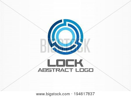 Abstract logo for business company. Corporate identity design element. Technology, Industrial, Logistic, bank logotype idea. Connect, integrate, circle lock, globe protect concept. Color Vector icon