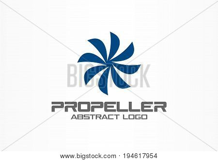 Abstract logo for business company. Corporate identity design element. Eco friendly energy, twirl, propeller, screw logotype idea. Flower, swirl connect circle, environment concept. Color Vector icon