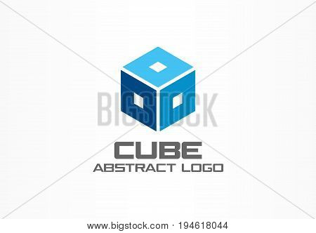 Abstract logo for business company. Corporate identity design element. Cube, box, Square frame, hexagon logotype idea. Distribution, logistic, delivery, transport and export concept. Color vector icon