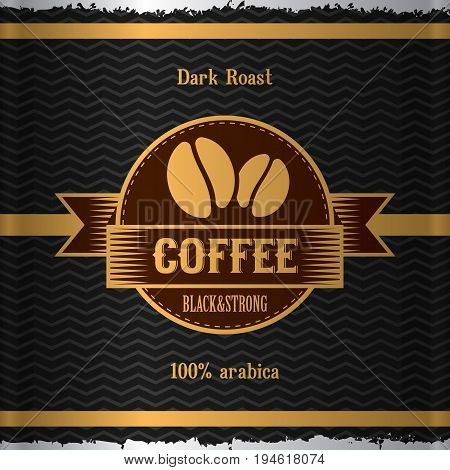 Stylish Coffee Poster with image of coffee beans and words dark roast vector illustration