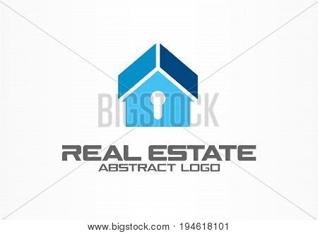 Abstract logo for business company. Corporate identity design element. Real estate, safety lock, home protection, guard logotype idea. house security, apartment alarm concept. Color Vector icon