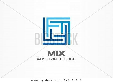Abstract logo for business company. Corporate identity design element. Industry, finance, bank logotype idea. Square group, network integrate, technology mix concept. Color Vector connect icon
