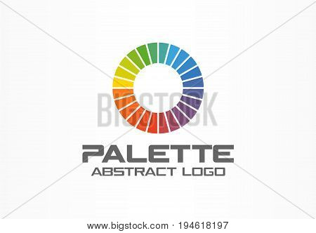 Abstract logo for business company. Corporate identity design element. Color circle segments, round spectrum logotype idea. Multicolor palette, physics, rainbow concept. Colorful Vector icon
