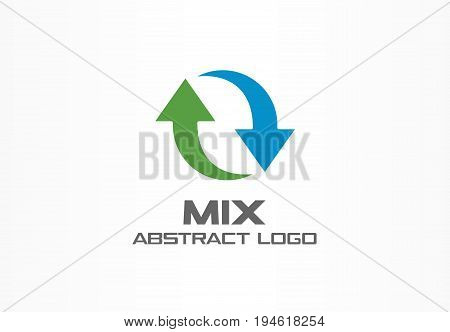 Abstract logo for business company. Corporate identity design element. Exchange currencies, synchronization, replacement arrows logotype idea. Circle mix, bank, recycle concept. Colorful Vector icon