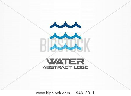 Abstract logo for business company. Corporate identity design element. Eco ocean, nature, swimming pool, spa, aqua swirl Logotype idea. Water wave, blue sea square concept. Colorful Vector line icon