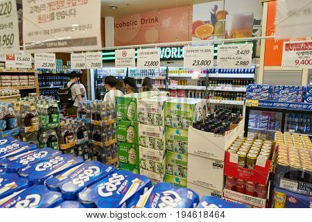 SEOUL, SOUTH KOREA - CIRCA MAY, 2017: goods on display at Lotte Mart in Seoul.