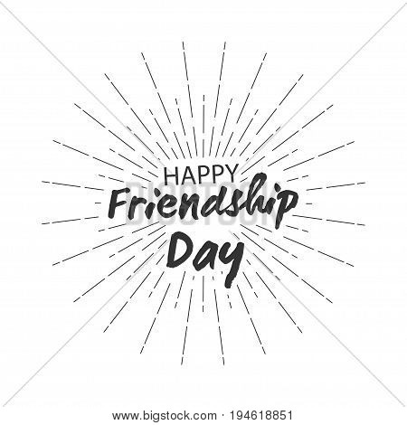 Happy friendship day lettering with starburst for greeting cards design. Isolated on white background. Vector illustration.