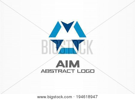 Abstract logo for business company. Corporate identity design element. Camera focus, frame epicenter, gun crosshair center logotype idea. Core, weapon target, goal concept. Colorful Vector icon